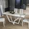table à manger contemporaine / en grès cérame / avec piètement en métal peint / avec piètement en métal brossé
