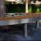banc public / contemporain / en bois exotique / en acier inoxydable
