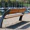 banc public / contemporain / en bois exotique / en acier