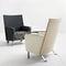 fauteuil contemporain / en cuir / à roulettes / avec accoudoirs