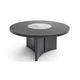 table contemporaine / en marbre / avec piètement en bois / ronde