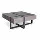 table basse contemporaine / en MDF laqué / avec piètement en bois / carrée
