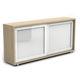 armoire de classement basse / en bois / avec porte coulissante / contemporaine