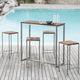 table mange-debout contemporaine / en bois huilé / en acier / en acier inoxydable brossé