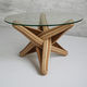 table basse design original / en verre trempé / avec piètement en bois massif / avec piètement en bambou