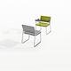 chaise de conférence tapissée / avec accoudoirs / à tablette / luge