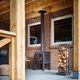 cheminée à bois / contemporaine / sur pied / à foyer ouvert