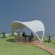 structure tendue sur ossature métallique / à arche / pour abri / pour espace public