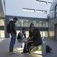 tabouret contemporain / en béton / lumineux (LED) / pour espace public