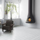 cheminée à bois / contemporaine / à foyer fermé / murale