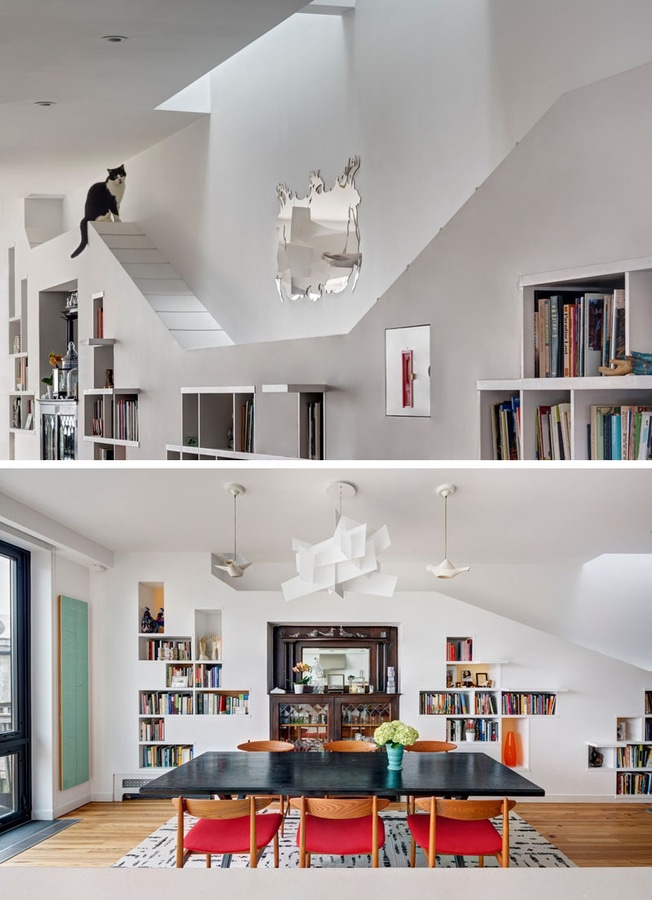 Une bibliothèque intégrée conçue pour des lignes de chats un ...