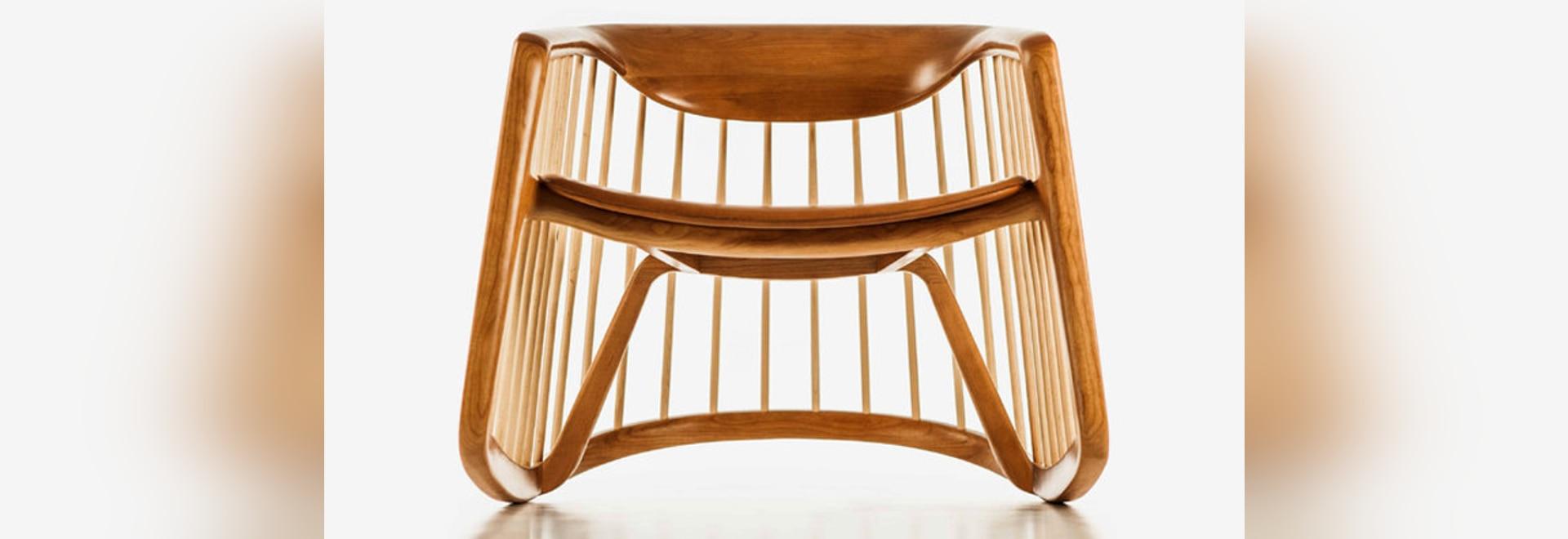 Chaise de basculage de harpiste par Noé Duchaufour Lawrance pour la conception de Bernhardt