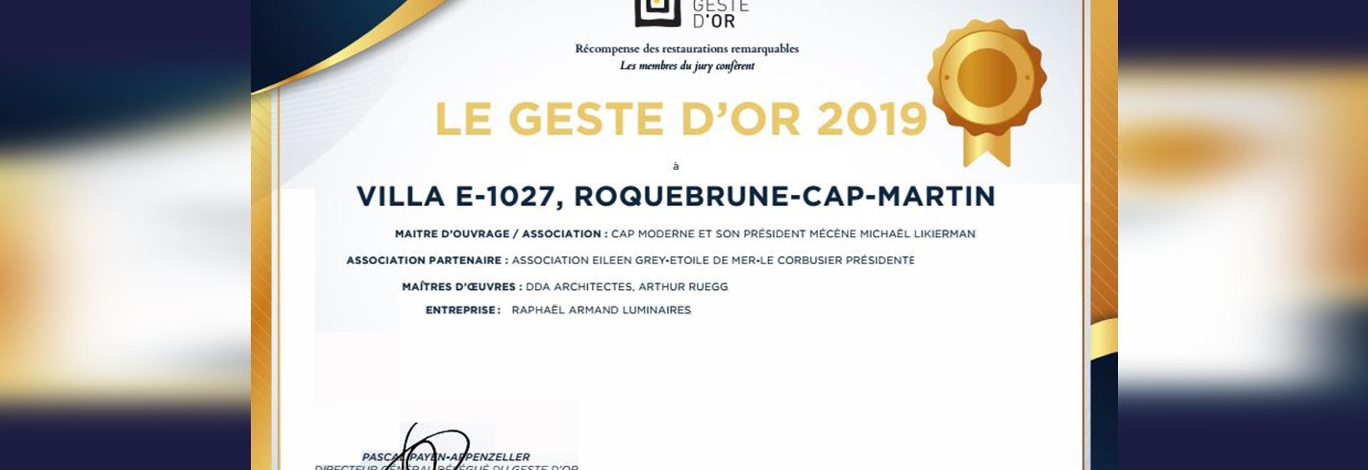 "Diplome International ""LE GESTE D'OR 2019"""