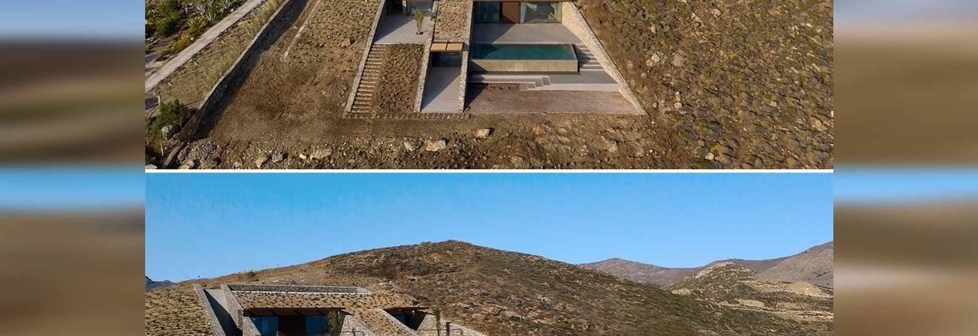 Une maison construite sur la colline de cette île est presque invisible