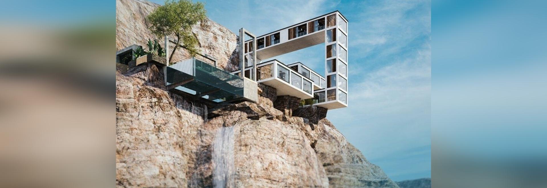 """La """"maison de montagne"""" en porte-à-faux de Milad Eshtiyaghi serpente au-dessus d'une falaise en trois dimensions"""
