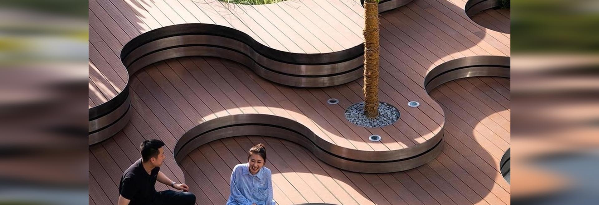 Un paysage de formes courbes a été conçu pour ce parc