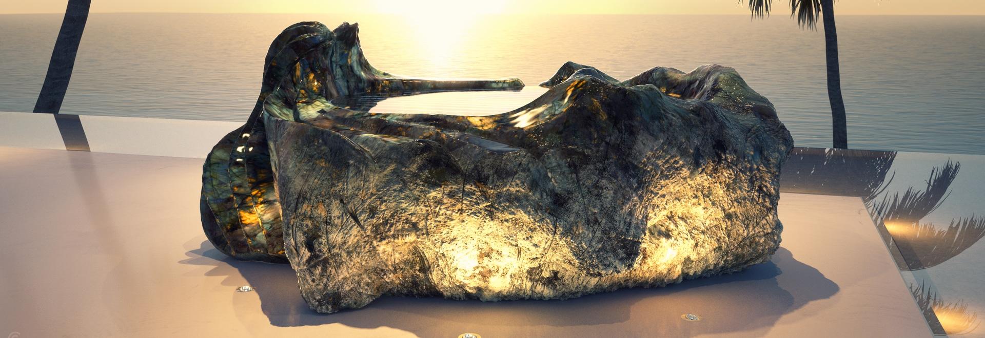 Sculpture de Bath de pierre gemme de GUIDERO
