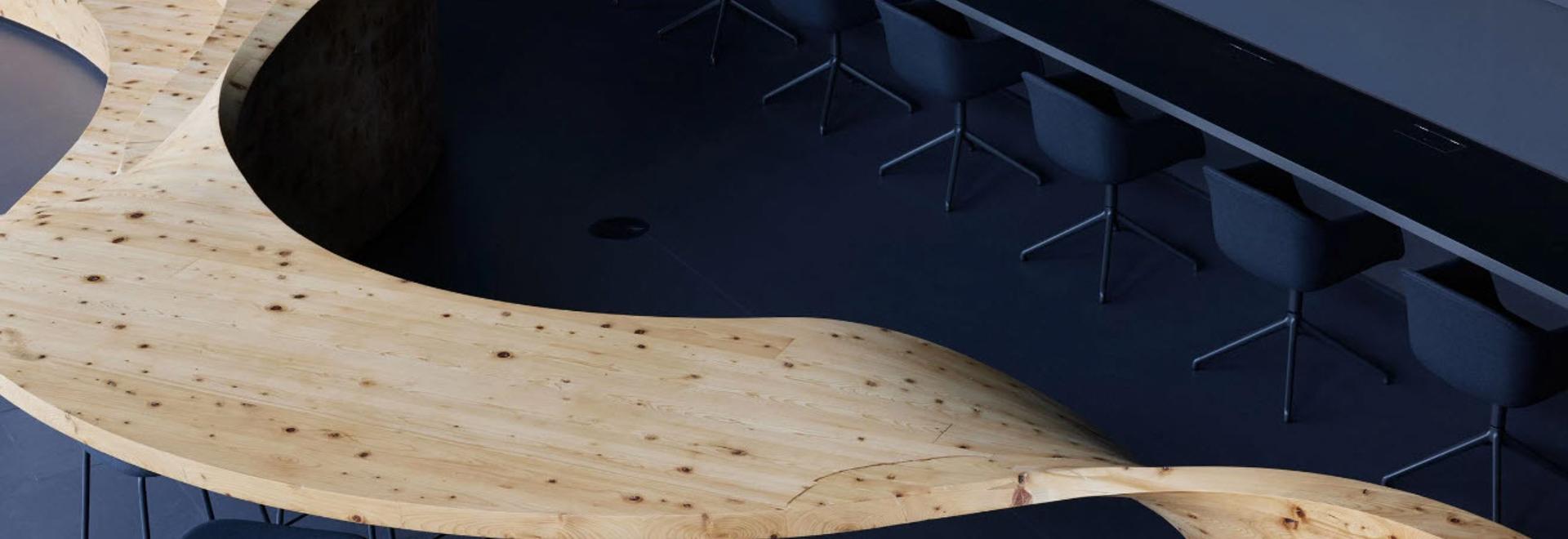 Snøhetta insère du mobilier inspiré d'un coup de pinceau dans un espace de travail à Tokyo