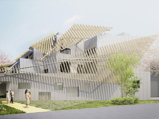 le bâtiment est complété avec une série d'auvents à angles de bois de construction qui atténuent l'impact visuel des volumes empilés ci-dessous