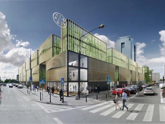Centre commercial massif de récipient d'expédition à sauter à Varsovie