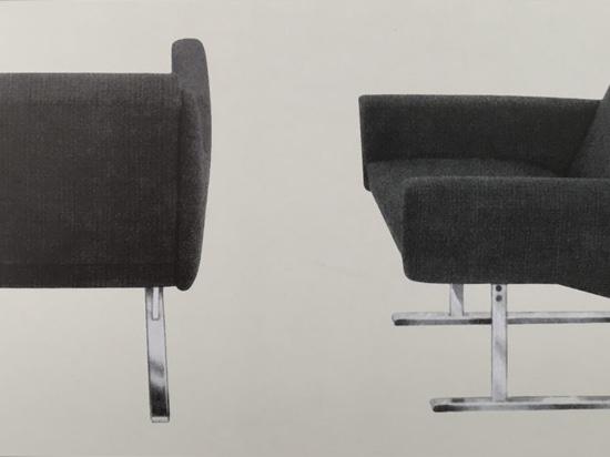 Siège Flexor de Georg Leowald, 1954. Il doit son confort exceptionnel au ressort de torsion en tiges de fibre de verre placé sous l'assise – tout à fait inédit dans l'industrie des fauteuils et can...