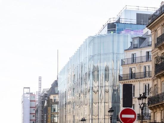 "Restauration en verre de ondulation de ""samaritaine de La"" de serre-livres de la façade de SANAA à Paris"
