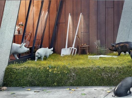 serre par wamhouse studio est un chalet moderne recouvert de bois et d'herbe