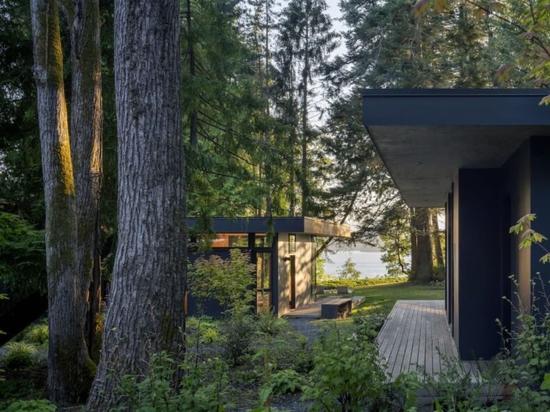 Un groupe de cabanes en forêt côtière rapproche une famille amoureuse de la nature