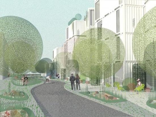 l'expédition d'appartements conteneurs transformer l'île de la circulation à la maison des sans-abri à Los Angeles