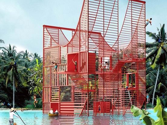 Antireality conçoit une maison enfoncée dans l'eau avec de minces échasses
