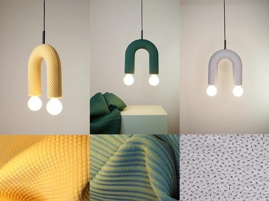 Collection d'éclairage DUO. De gauche à droite : mosaïque, enveloppe, paillettes.