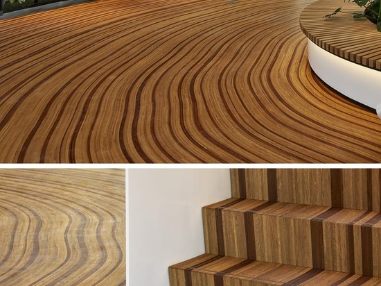 Ce parquet sur mesure a été conçu pour ressembler aux anneaux de croissance d'un arbre