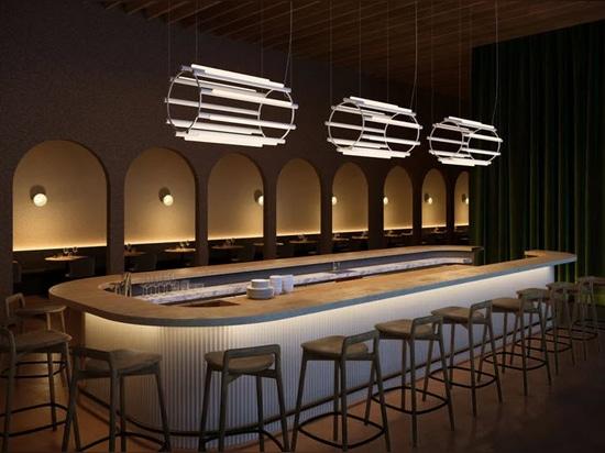 """Caine Heintzman étend la série de luminaires """"pipeline"""" avec un design de lustre pour ANDlight"""