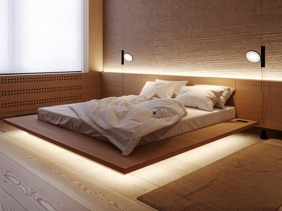 L'éclairage LED permet à ce lit d'apparaître comme s'il flottait