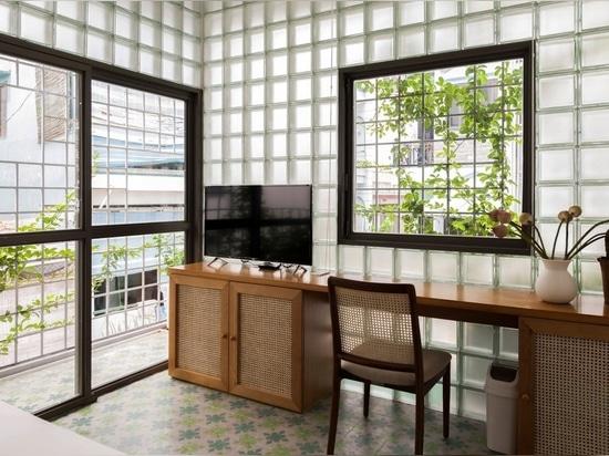 ROOM+ Design & Build remplace les murs d'une maison à Ho Chi Minh Ville par des briques de verre