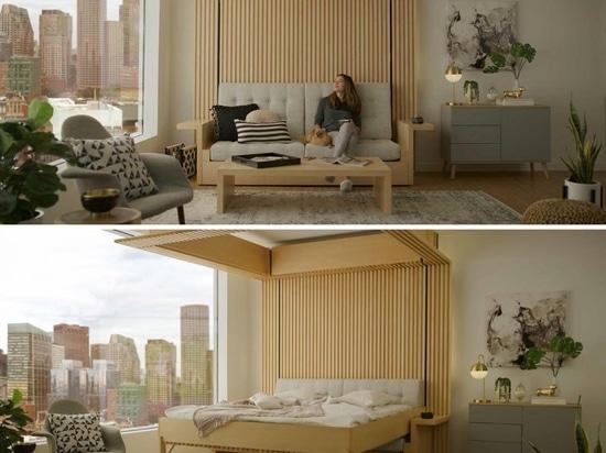 Ce lit qui descend du plafond a été conçu comme une solution pour les petits appartements