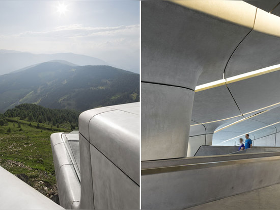 Architectes de Zaha Hadid, musée Corones, Tyrol du sud, Italie de montagne de Messner. © Werner Huthmacher de photo