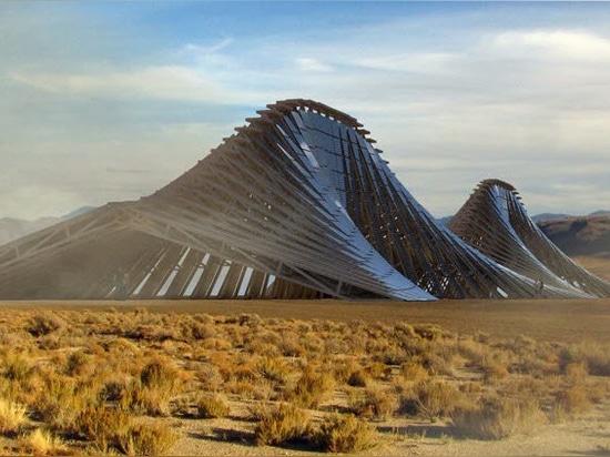 """NUDES prévoit une """"montagne solaire"""" ondulée pour la communauté hors réseau de l'homme en feu dans le désert"""