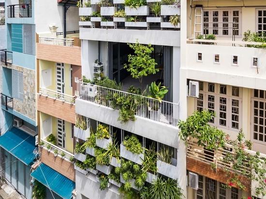 Des jardinières intégrées ajoutent de l'intimité et de la verdure à l'extérieur de cette maison