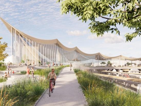 BIG dévoile le projet de centre de voyages de Västerås avec un plafond en bois courbé