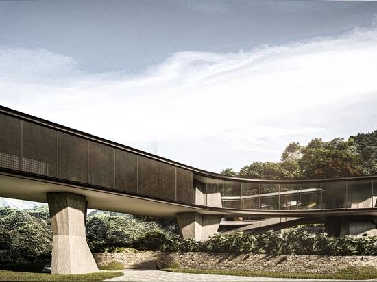 D'épais piliers en béton soutiennent la maison Xingu de Tetro Arquitetura au Brésil