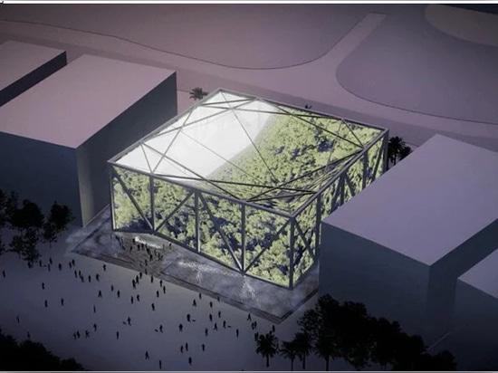 l'extérieur de l'exposition brésilienne, couverte de projections de forêts tropicales brésiliennes toutes les images sont une courtoisie de cactus