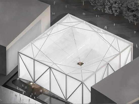 l'extérieur de l'exposition brésilienne - un cube lumineux