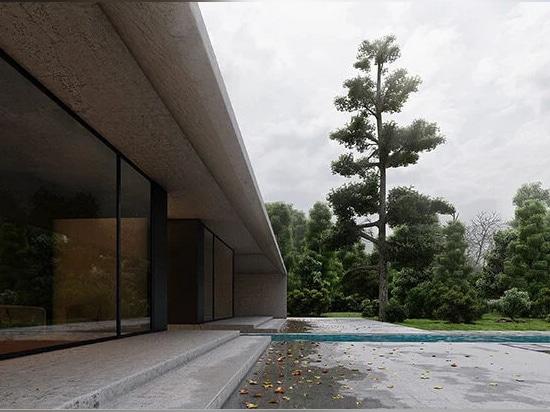 l'eau de pluie est canalisée du toit et de la cour vers un bassin d'eau