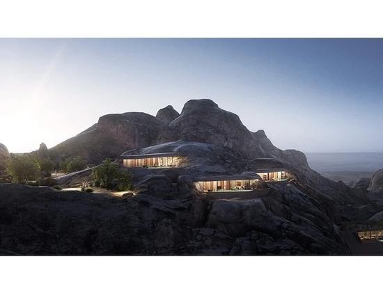 oppenheim architecture pose la première pierre du complexe desert rock dans les montagnes d'arabie saoudite