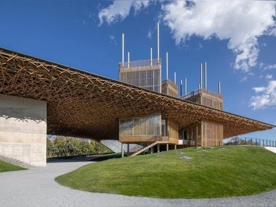 Un toit ondulé définit un centre d'art chinois d'inspiration organique