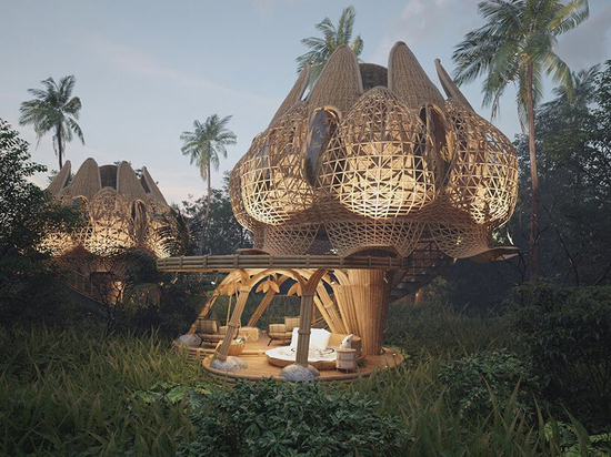 Les volumes de bambou entrelacés, semblables à des fleurs de lotus, donnent forme aux villas de rêve de Thilina Liyanage