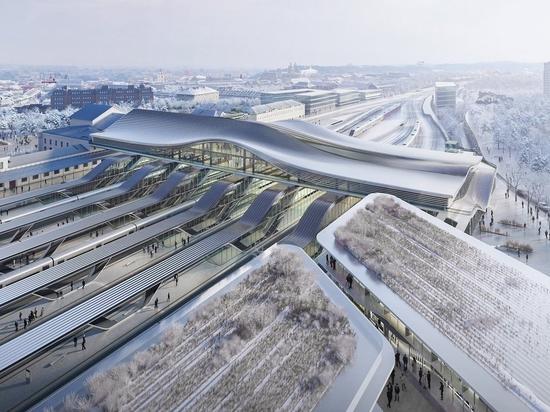 Le cabinet d'architectes Zaha Hadid conçoit un vaste pont au-dessus de la gare de Vilnius