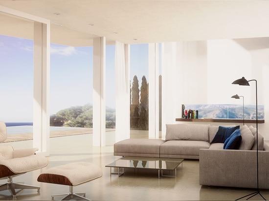 intérieurement, la maison est traitée comme espace singulier et continu
