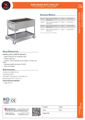Bain-marie with trolley